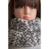 Snood tricoté à la main gris chiné fille
