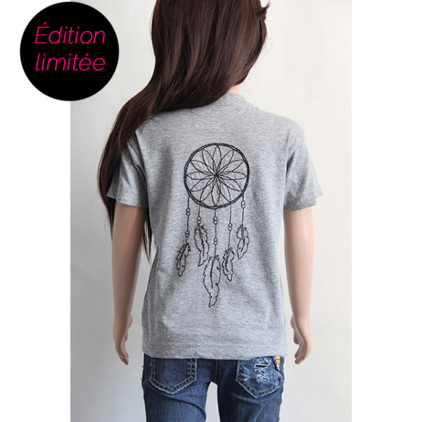 T-shirt gris brodé attrape rêves