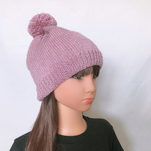 bonnet violet brillant fille